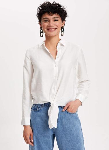 DeFacto Önden Bağlamalı Gömlek Tunik Beyaz